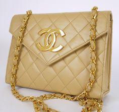 Authentic Chanel Beige Lamb Skin Big CC Logo Flap Shoulder Bag
