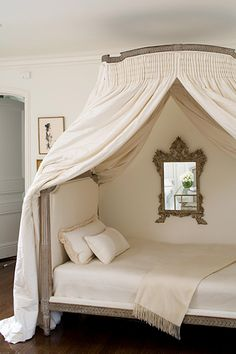 Wide crown or curved pelmet for hanging bed curtains