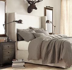 Love this look... I don't know about he deer head though.. :) Shelter | Restoration Hardware