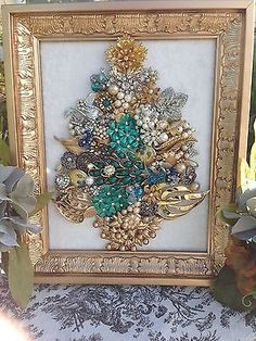 VINTAGE Costume JEWELRY Mosaic Boudoir Glam Framed Floral Peacock Christmas Tree