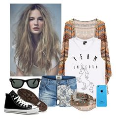 4 days of school left? We'll screw it, I don't care! by breakingtherose on Polyvore featuring polyvore, fashion, style, ONLY, Converse and Ray-Ban