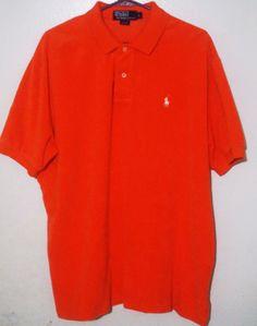 Men's Polo By Ralph Lauren Orange Soft 100% Cotton Button Down Shirt Size Large #PoloRalphLauren #PoloRugby