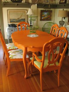 Colorful Painted Dining Table Inspiration for size 768 X 1024 Orange Kitchen Table Chairs - Back in the early century, many kitchens appeared to be Kitchen Table Chairs, Dining Room Chairs, Table And Chairs, Dining Table, Dining Set, Orange Dining Room, Orange Kitchen, Orange Painted Furniture, Painted Chairs