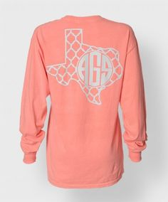 MONO TEXAS LONGSLEEVE $24.99. As much as I adore monograms, I think it would be cuter if it had your school initials instead.