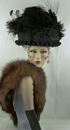 VINTAGE HAT 1890-1900s FRENCH, ORIGINAL BELLE ÉPOQUE OSTRICH FEATHER LADIES HAT  #HighSocietyBellepoqueDayhat #MuseumorCollectorsDisplayPiece