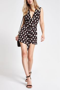 Buy River Island Choc Geo Print Alfie Print Playsuit from the Next UK online shop Black Playsuit, Black Jumpsuit, River Island Womens, Print Wrap, Uk Online, Black Print, New Outfits, Style Guides
