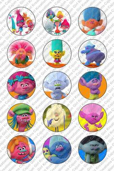 """Dreamworks Trolls 1"""" Round Circles Bottle Cap Images Cupcake Toppers Instant…"""