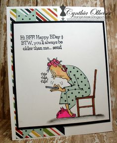 Art Impressions Rubber Stamps: Hot Java Mama. Handmade card with lady texting. birthday