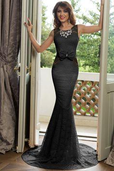 Black Floral Lace Front Bow Accent Maxi Evening Dress US  19.44   eveningdress  maxidress 2c319f03352c