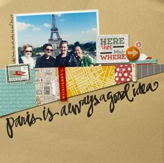 #papercraft #scrapbook #layout -  Fun (and deceptively simple) layout by Kelly Purkey with her new collections from Basic Grey.