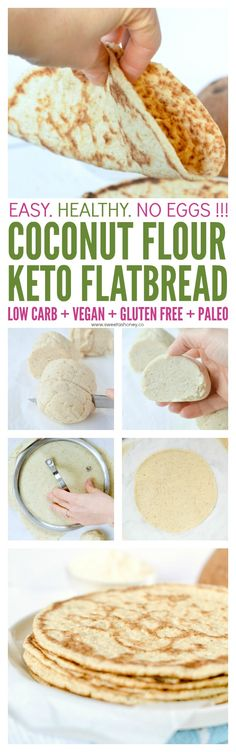 Easy healthy soft fluffy eggf - Keto Vegetarian - Ideas of Keto Vegetarian - Coconut flour flatbread Keto Vegan eggless ! Easy healthy soft fluffy eggfree breads with only 6 ingredients. Ketogenic Recipes, Low Carb Recipes, Vegan Recipes, Cooking Recipes, Coconut Flour Recipes Low Carb, Cooking With Coconut Flour, Keto Bread Coconut Flour, Paleo Bread, Almond Flour