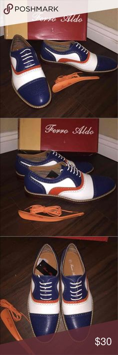 """💥LAST ONE💥MEN OXFORD New men oxfords! Blu, white and orange. Cap toe. comes with shoe horn. Only white laces. For that pachuco, biker, rebel, unique, or just TRENDY man in your life!  **UPON RATING: please remember that you are rating on customer service skills and product arriving as described, I try my best to be of help. I think it is unfair to rate based on the item """"NOT FITTING YOU"""", Shoes Oxfords & Derbys"""