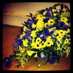 Purple and yellow floral gift basket from Cottons and Blossoms -  cottonsandblossoms.weebly.com