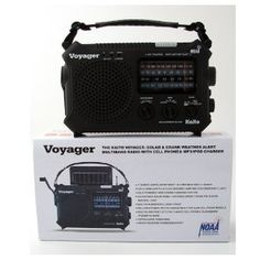 """Voyager Solar Radio by Voyager. $54.00. LED flashlight plus 5 LED reading lamp. Four way power. Water resistance, rubberized body. 3 """"AA"""" - AC adapter (not included). Wow is all we can say, one of the best solar/ dynamo radios we have seen. Listed are some of the features: 11 Bands: AM/FM, Shortwave 1 and 2 and 7 Weather Bands. NOAA Weather Alert sends an Emergency Wireless Signal to the radio for local weather disasters. Dynamo hand charging (no batteries required). Solar Powere..."""