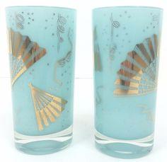 Pair of Blue 'Masquerade' Highball Glasses
