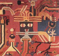 Detail: Discontinuous warp textile c. 200 A. camelid fiber, 69 x 113 cm Paracas Nazca transition period Boston: MFA Ancient Peruvian, Peruvian Art, Fabric Painting, Fabric Art, Nazca Peru, Peruvian Textiles, Argentine, Textiles Techniques, Mesoamerican