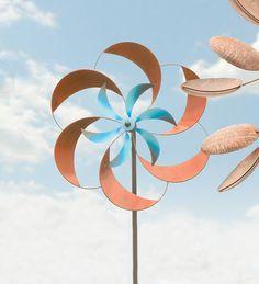 Two-Tone Pinwheel Metal Garden Wind Spinner