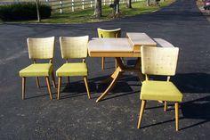 Vintage Mid Century Modern Meier Pohlmann Table 4 Chair Set Blonde Green | eBay