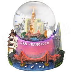 snow globes from around the world | 45mm San Francisco souvenir snow globe, with detailed 3D landmarks at ...