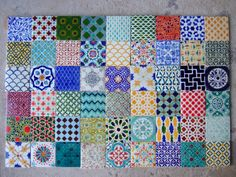 Handpainted Morrocan Tile Splashback - Set of 54 mixed bohemian designs on Etsy, $270.00