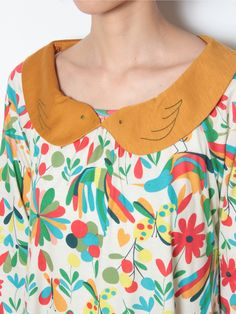 PAJAROプリント付け衿ワンピース | Jocomomola