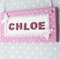 Girl's Personalised Handmade Pearl Bedroom Door Sign/ Plaque. Children s Gift