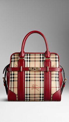 76bdb7e59896 Medium Haymarket Check and Leather Tote Bag
