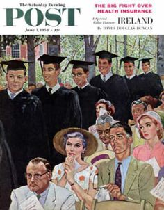 Saturday Evening Post Copyright 1958 Entrance Graduates - www.MadMenArt.com | The Saturday Evening Post was founded in1897 and published the legendary gag cartoons like Hazel by Ted Key. We especially like the funny cover cartoons and illustration until 1969. #NormanRockwell