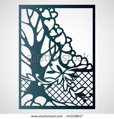 Openwork card with tree and hearts. Laser cutting template for greeting cards, envelopes, wedding invitations.