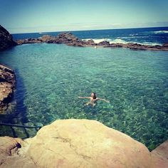 Swimming in one of the rockpools on the South-Eastcoast of Australia! Bermagui, Australia! #australia #Bermagui #rockpool #fresh #water #natural #clear #sun #summer #fish #sealife #swimming #free http://www.backpackerdeals.com