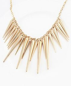 #ROMWE - #ROMWE Exaggerate Gold Plated Spike Necklace - AdoreWe.com