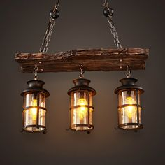 259.65$  Watch now - http://aliu9u.worldwells.pw/go.php?t=32746013571 - New Original Design Retro Industrial Pendant Lamp 3 Head Old Boat Wood American Country style Nostalgia Light Free Shipping 259.65$