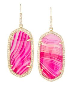 Small Pave Oval Earrings in Pink Agate - Kendra Scott Jewelry.