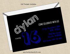 Printable 4x6 boy, tween, teen, male adult birthday invitations available at www.auntiessweetlife.com