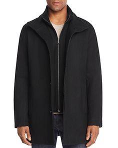 COLE HAAN BIB-FRONT CAR COAT. #colehaan #cloth Cole Haan, Wool Blend, Shop Now, Mens Fashion, Coat, Jackets, Clothes, Shopping, Charcoal