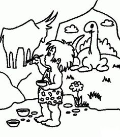 Prehistoric man with a stick on the shoulder coloring page