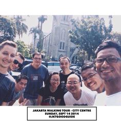 A selfie with all participants of #JakartaWalkingTour in front of the Jakarta Cathedral.