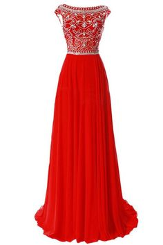 Scoop Chiffon Red Long Prom Dress Evening Gowns With Beading PG 213