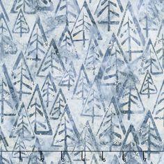 Artisan Batiks - Noel 5 Mod Trees Snow Metallic Yardage