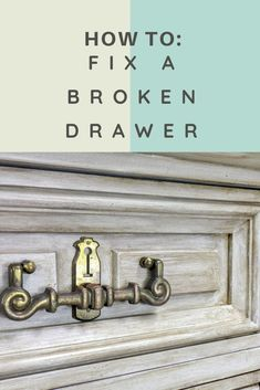 How to repair a broken dresser drawer Diy Furniture Repair, Furniture Makeover, Furniture Ideas, Painted Furniture, Furniture Refinishing, Diy Drawers, Dresser Drawers, Broken Dresser, Upcycled Furniture Before And After