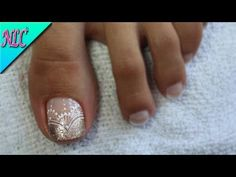 DECORACIÓN DE UÑAS PARA PIES ENCAJE Y FRANCÉS♥ - FRENCH NAIL ART♥ - LACE NAIL ART - NLC - YouTube