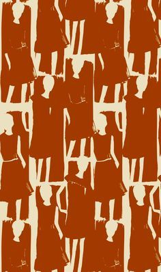Orla Kiely textile pattern in terra cotta colour of illustrated fashion girls. Graphic Patterns, Textile Patterns, Textile Prints, Print Patterns, Design Textile, Fabric Design, Illustrations, Graphic Illustration, Surface Design