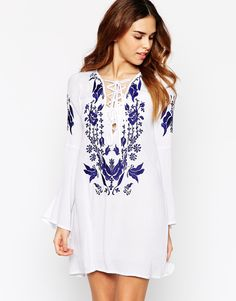 Glamorous+Embroidered+Lace+Up+Dress+With+Fluted+Sleeves