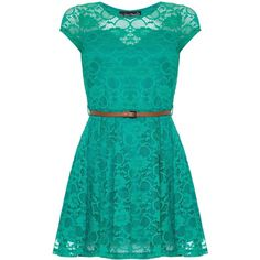 Mela Loves London Cap Sleeve Belted Lace Dress ($23) ❤ liked on Polyvore featuring dresses, vestidos curto, clearance, green, shift dress, lace dress, floral print cocktail dress, blue party dress and blue cocktail dress