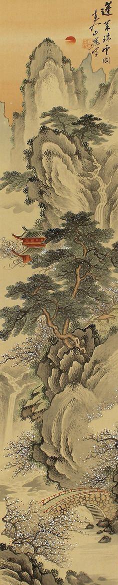 Mt.Hourai Sansui by Tanomura Cyokunyu (1814-1907). Japanese Hanging Scroll Painting Kakejiku