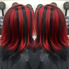 Chunky red highlights by hairbyangelaalberici long islandny red and black chunky highlights pmusecretfo Images