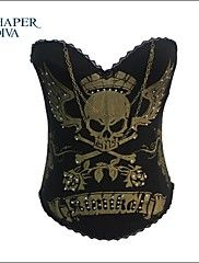 Shaperdiva Women's Black Skull Print Rock N Roll Fashion Boned Corset