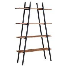Strak vormgegeven kast met houten planken. Kleur: bruin. Afmeting: 100x30x165 cm (lxbxh). #kast #kwantumstijl