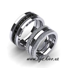 Wedding rings with black diamonds. Order in Kiev . - Jewelry World Platinum Wedding Rings, White Gold Wedding Bands, Wedding Band Sets, Wedding Men, Engagement Rings Couple, Couple Rings, Affordable Diamond Rings, Classic Wedding Rings, Love Ring