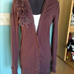 Loft long sleeve cardigan EUC, gently worn maybe twice.  60%cotton 49% modal.  Machine wash dry flat.  Measures about 20 1/2 inches from arm pit to bottom, about 29 inches from shoulder seam to bottom.  Beautiful shoulder detail with beading, medium plum color. LOFT Sweaters Cardigans